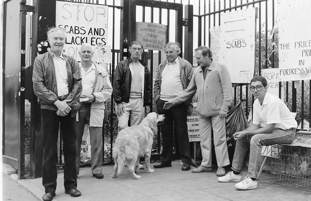 Picture entitled 6 Men And A Dog from the Wapping Dispute
