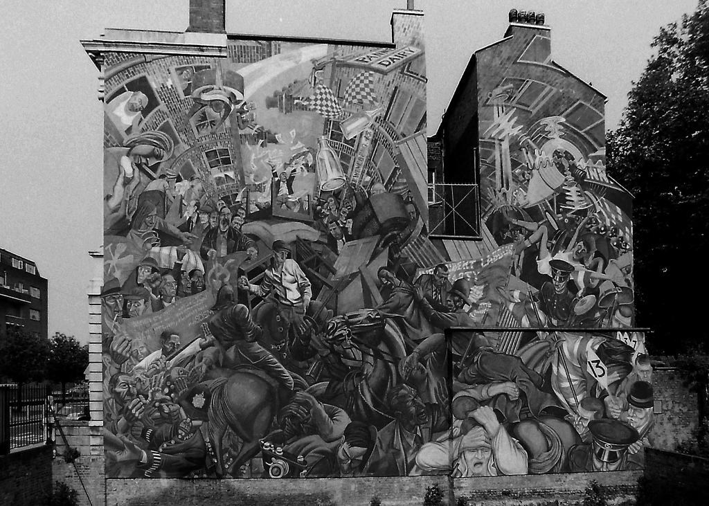 Picture entitled Cable Street Mural 1986 from the Wapping Dispute