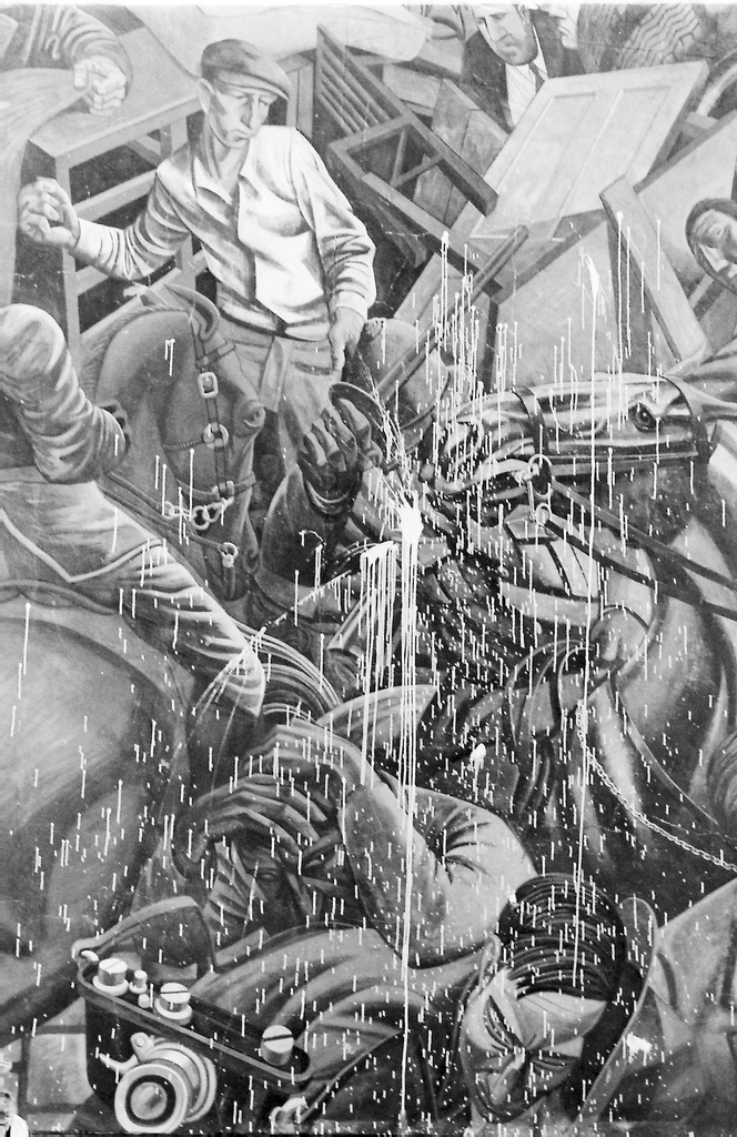 Picture entitled Cable Street Mural Attacked 1986 from the Wapping Dispute