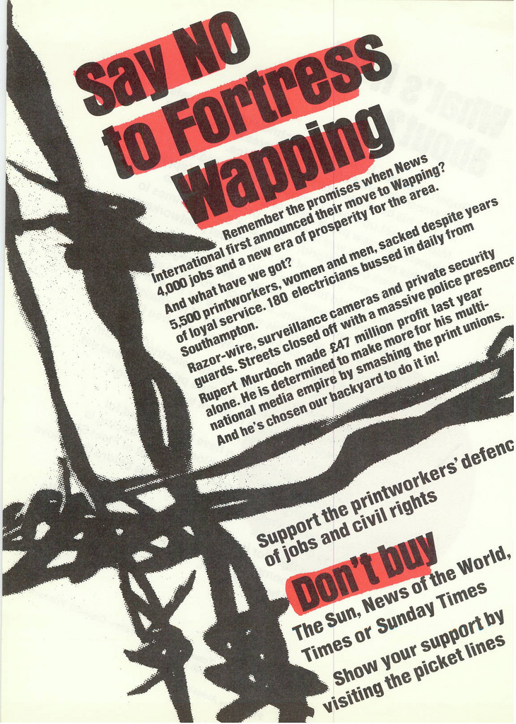 Picture entitled Flyer By Print Supporters 008 from the Wapping Dispute