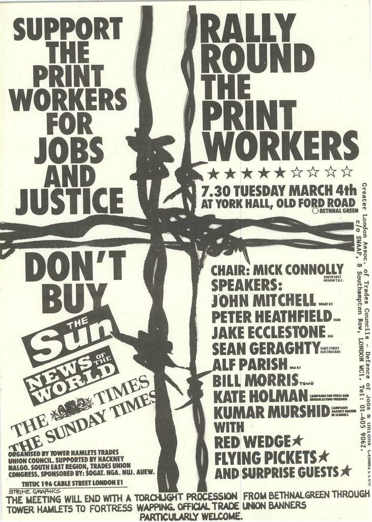 Picture entitled Flyer By Print Supporters 033 from the Wapping Dispute