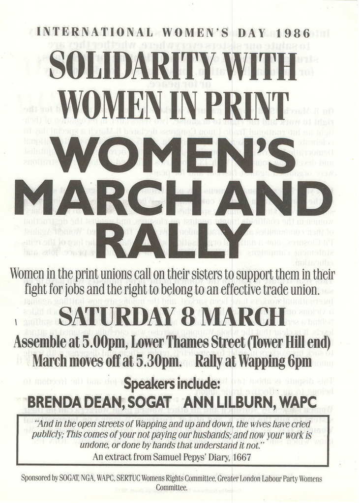Picture entitled Flyer By Print Supporters 035 from the Wapping Dispute