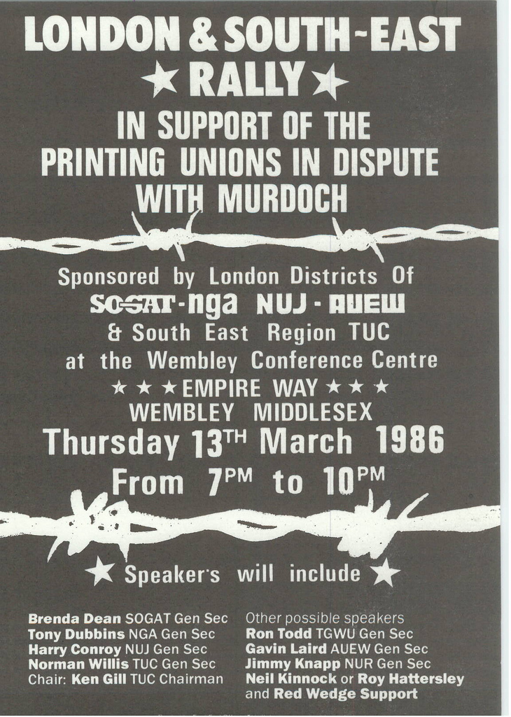 Picture entitled Flyer By Print Supporters 036 from the Wapping Dispute