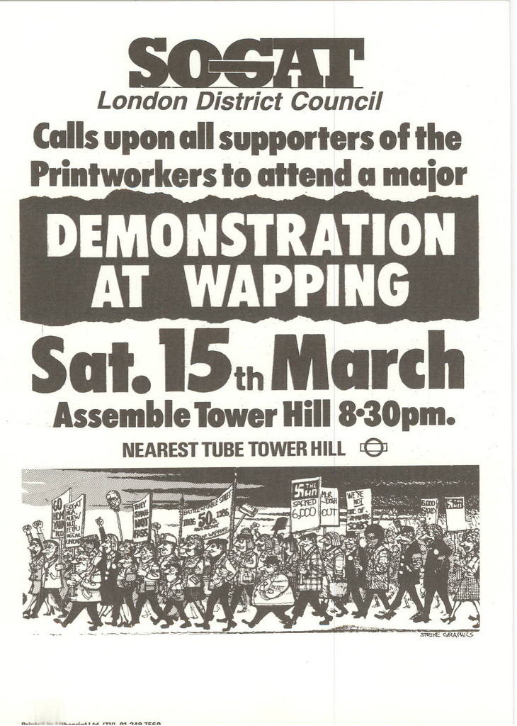 Picture entitled Flyer By Print Supporters 037 from the Wapping Dispute