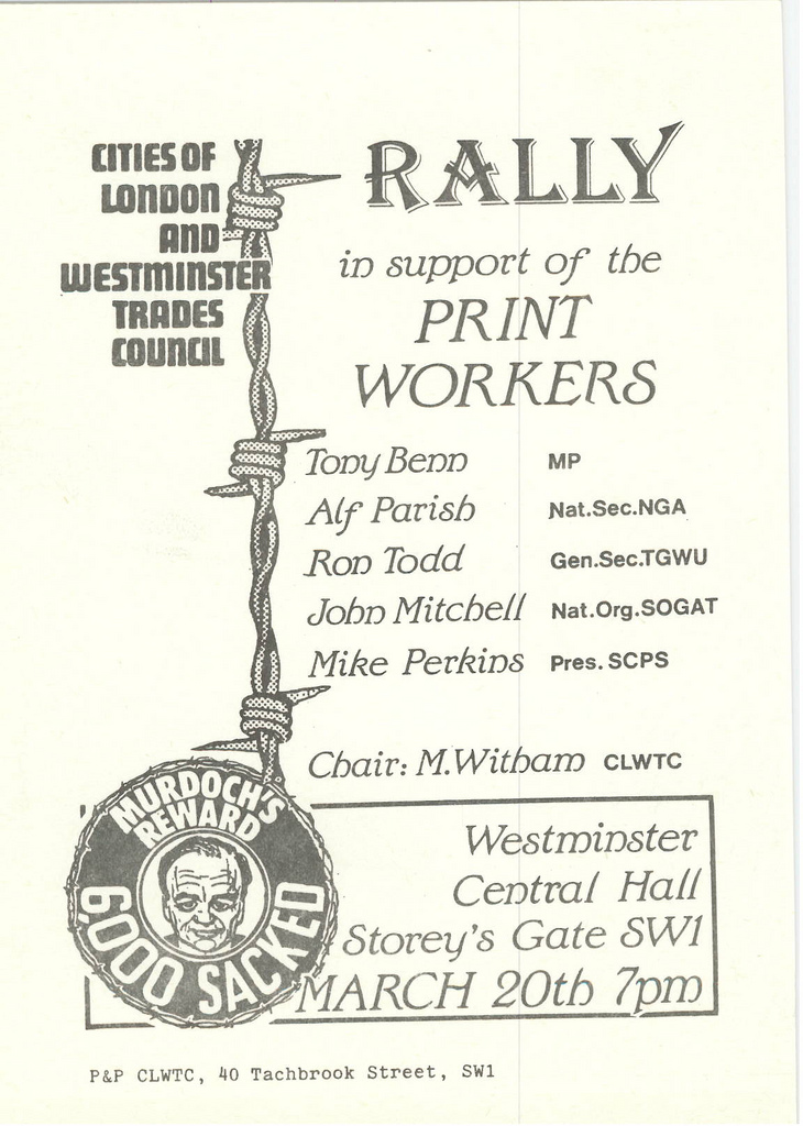 Picture entitled Flyer By Print Supporters 038 from the Wapping Dispute
