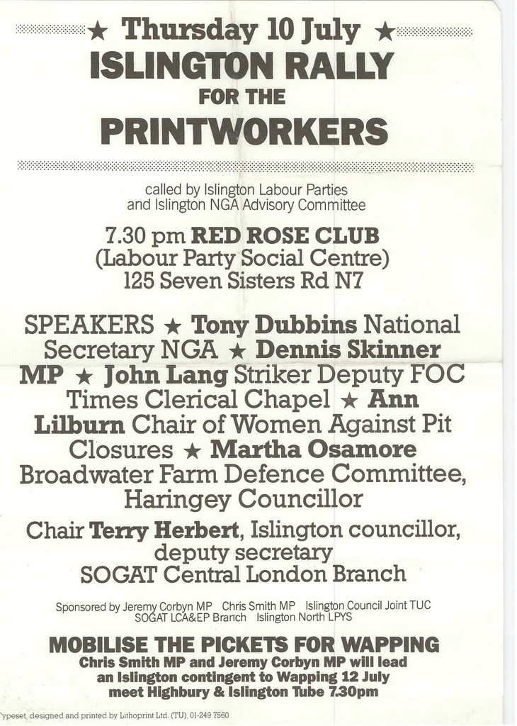 Picture entitled Flyer By Print Supporters 046 from the Wapping Dispute