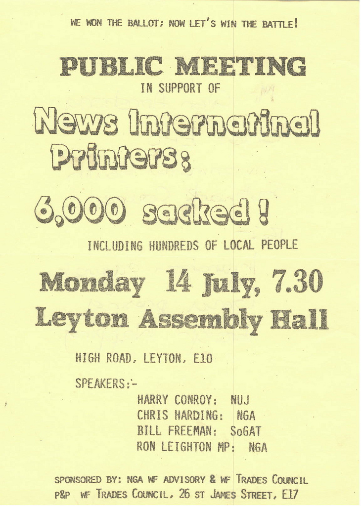 Picture entitled Flyer By Print Supporters 047 from the Wapping Dispute