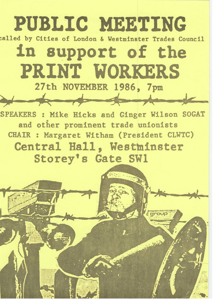 Picture entitled Flyer By Print Supporters 052 from the Wapping Dispute