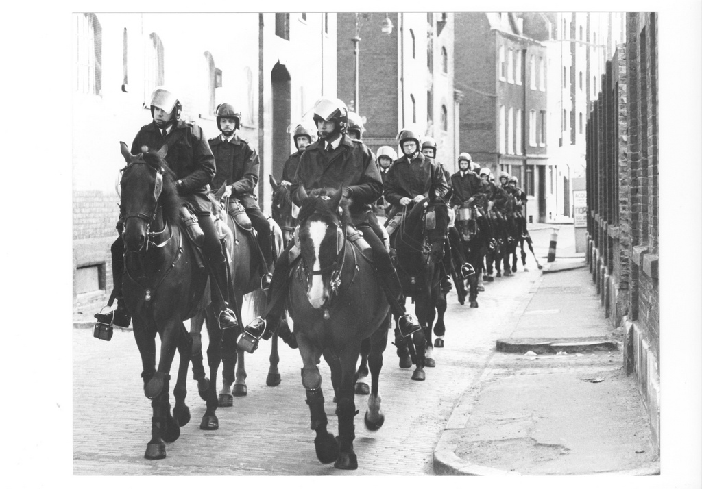 Picture entitled Mounted Police In Wapping 1986 from the Wapping Dispute