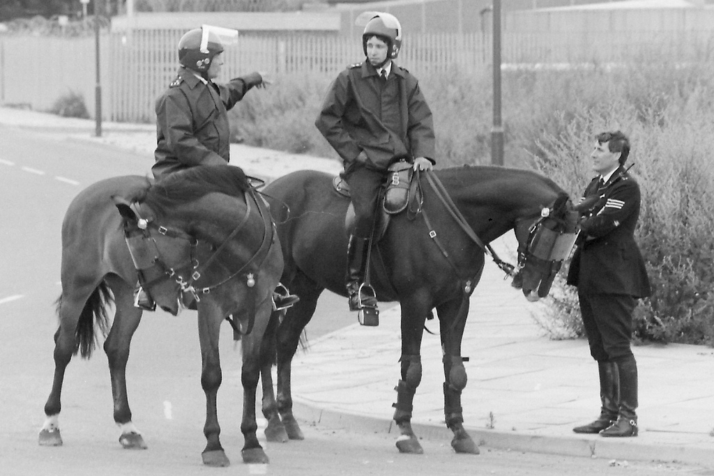 Picture entitled Mounted Police In Vaughan Way E1 from the Wapping Dispute