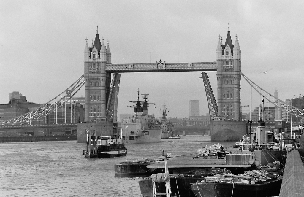 Picture entitled Tower Bridge 1986 from the Wapping Dispute